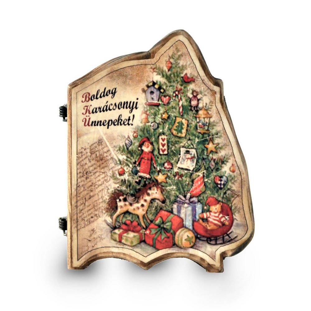 Karácsonyi fakönyv behajtva
