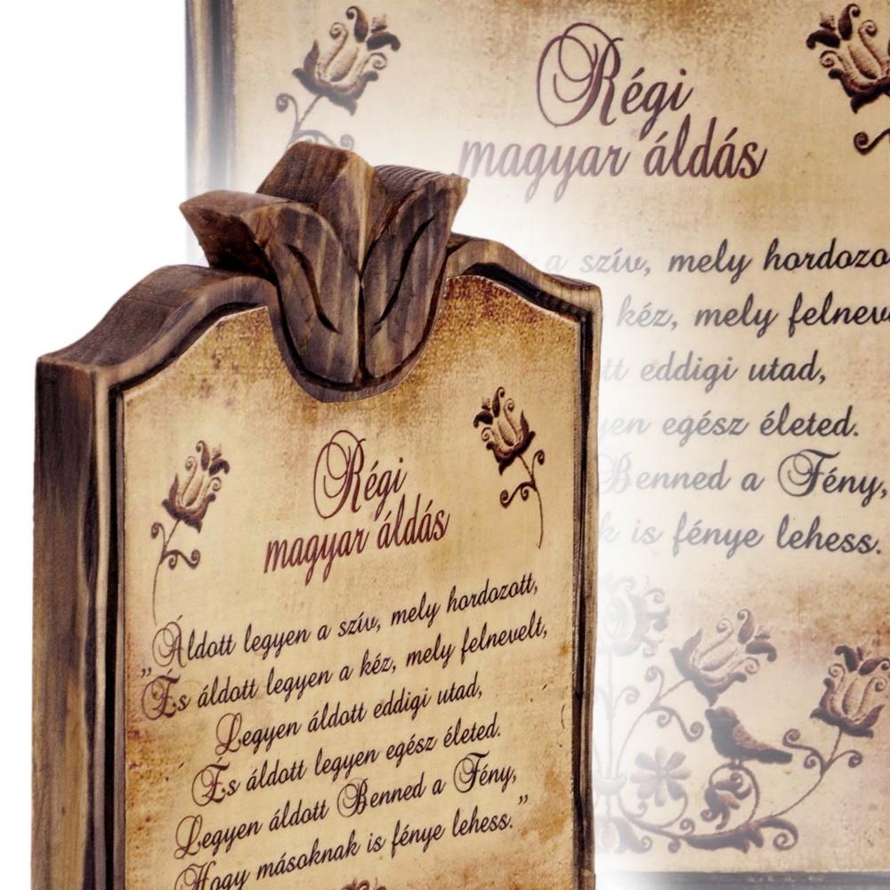 fából készült régi magyar áldás